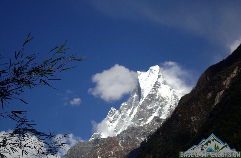 "Machapuchare ""Fish Tail Mountain"" in Bamboo to Jhinu Danda trek distance & Jhinu Danda hot springs Nepal"