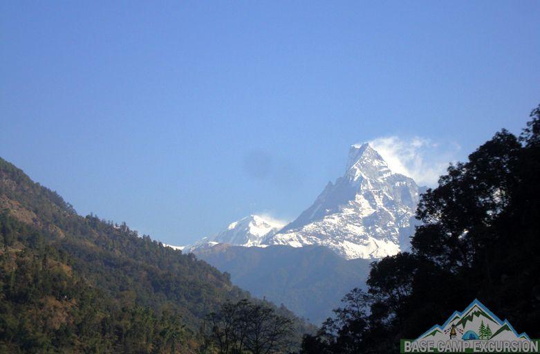 Fishtail mountain from Birethanti - Nayapul to Tikhedhunga distance, weather & altitude of Tikhedhunga Nepal