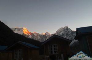 Bimthang village sunrise view after crossing Larkya la on Manaslu circuit Nepal