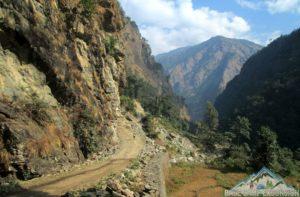 Soti Khola to Machha Khola trek distance & altitude of tour du Manaslu